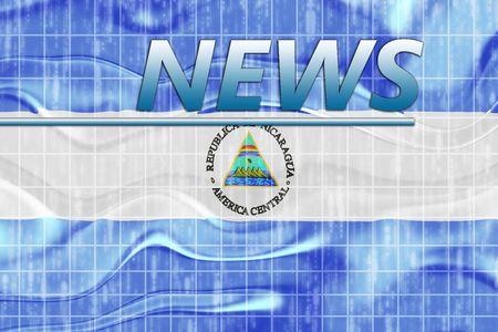 News information splash Flag of Nicaragua, national country symbol illustration wavy illustration