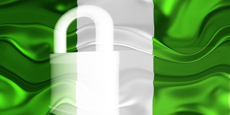guarded: Flag of Nigeria, national country symbol illustration wavy security lock protection