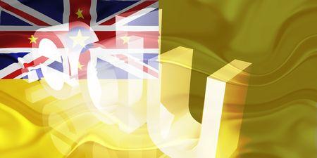 edu: Flag of Niue, national country symbol illustration wavy edu education website Stock Photo