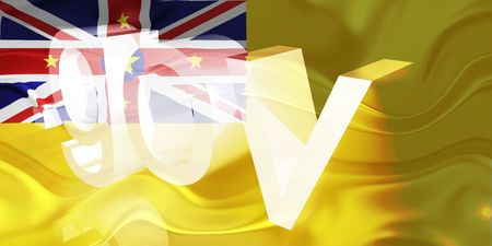 gov: Flag of Niue, national country symbol illustration wavy gov government website Stock Photo