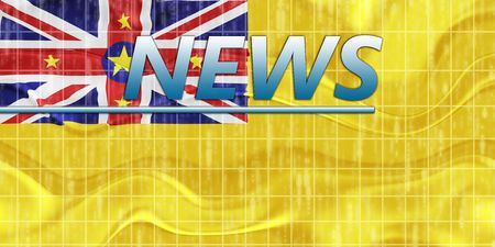 newsflash: News information splash Flag of Niue, national country symbol illustration wavy