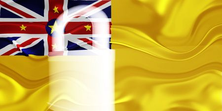 niue: Flag of Niue, national country symbol illustration wavy security lock protection