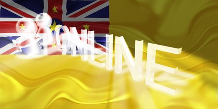 niue: Flag of Niue, national country symbol illustration wavy internet online website