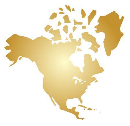 continente americano: Mapa del continente americano, Estados Unidos Canad� M�xico  Foto de archivo