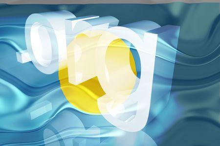 Flag of Palau, national country symbol illustration wavy org organization website illustration