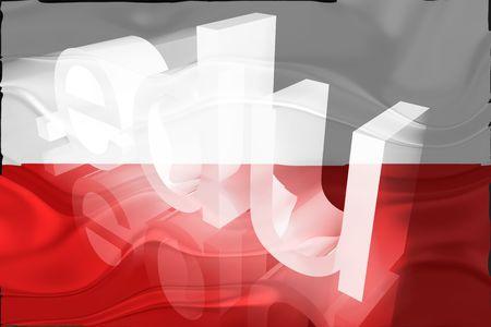 edu: Flag of Poland, national country symbol illustration wavy edu education website