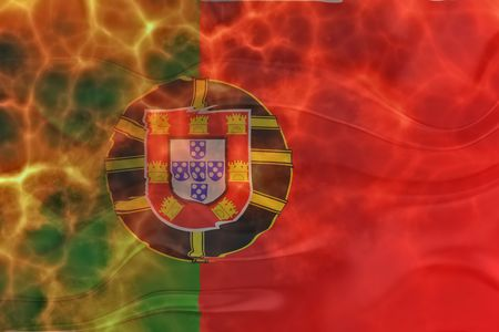 Flag of Portugal, national country symbol illustration wavy burning flames fire illustration