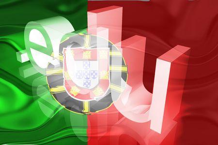 edu: Flag of Portugal, national country symbol illustration wavy edu education website Stock Photo