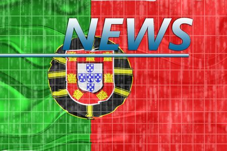newsflash: News information splash Flag of Portugal, national country symbol illustration wavy
