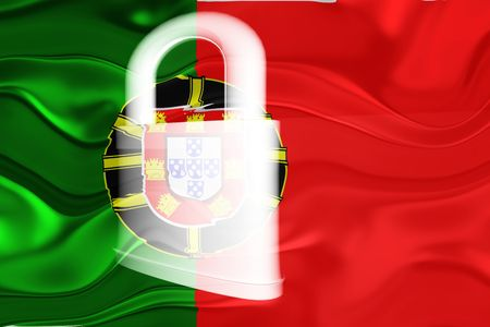 guarded: Flag of Portugal, national country symbol illustration wavy security lock protection