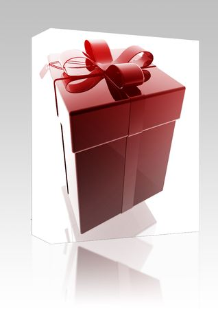 suprise: Software package box Wrapped fancy present illustration glossy metal style isolated