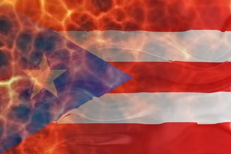 Flag of Puerto Rico, national country symbol illustration wavy burning flames fire Stock Illustration - 6706370