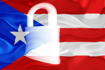 guarded: Flag of Puerto Rico, national country symbol illustration wavy security lock protection