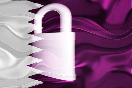 guarded: Flag of Qatar, national country symbol illustration wavy security lock protection