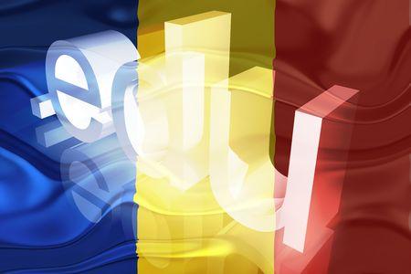 edu: Flag of Romania, national country symbol illustration wavy edu education website