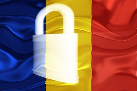 defended: Flag of Romania, national country symbol illustration wavy security lock protection