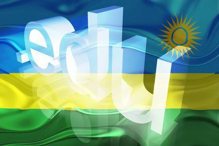edu: Flag of Rwanda, national country symbol illustration wavy edu education website