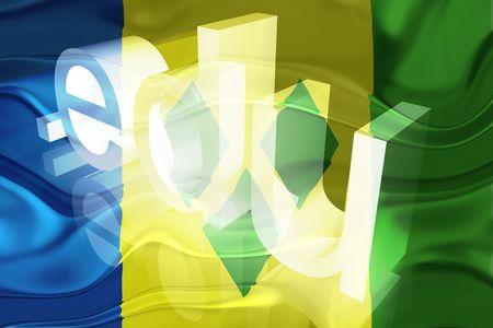 edu: Flag of Saint Vincent and Grenadines, national country symbol illustration wavy edu education website Stock Photo