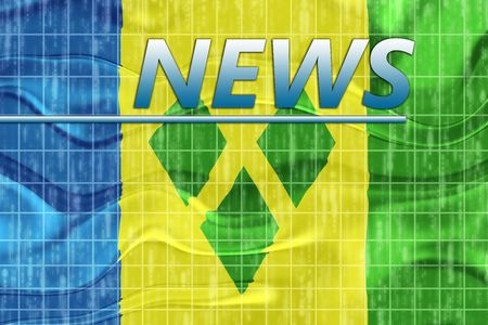 grenadines: News information splash Flag of Saint Vincent and Grenadines, national country symbol illustration wavy Stock Photo