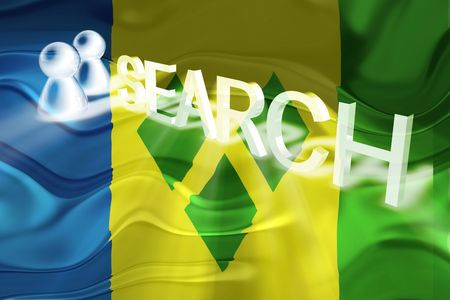 grenadines: Flag of Saint Vincent and Grenadines, national country symbol illustration wavy internet search technology