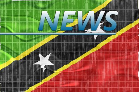 newsflash: News information splash Flag of Saint Kitts and Nevis St., national country symbol illustration wavy Stock Photo