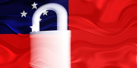 guarded: Flag of Samoa, national country symbol illustration wavy security lock protection