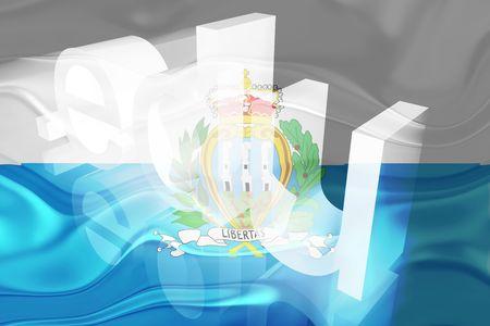 edu: Flag of San Marino, national country symbol illustration wavy edu education website