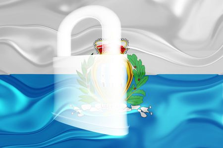 defended: Flag of San Marino, national country symbol illustration wavy security lock protection