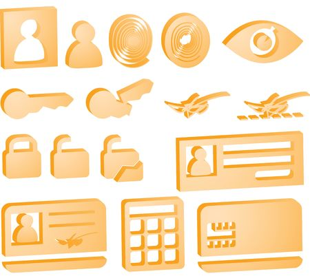 Security icon button illustration set, 3d style look Stock Illustration - 6706142