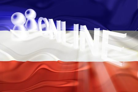 serbia and montenegro: Flag of Serbia and Montenegro, national country symbol illustration wavy internet online website