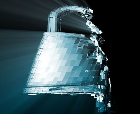 Hacking bypass compromised security with broken lock concept illustration Stock Illustration - 6712766