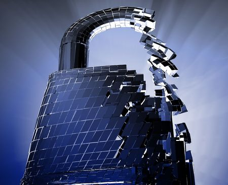 Hacking bypass compromised security with broken lock  concept illustration illustration