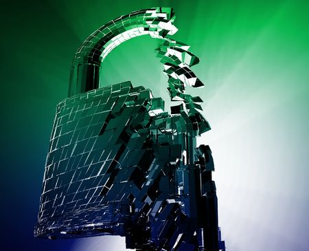 Hacking bypass compromised security with broken lock concept illustration Stock Illustration - 6712865