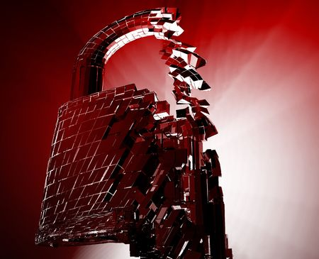 bypass: Hacking bypass compromised security with broken lock  concept illustration