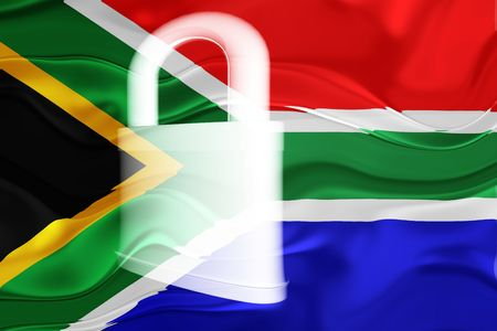 defended: Flag of South Africa, national country symbol illustration wavy security lock protection