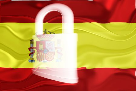 guarded: Flag of Spain, national country symbol illustration wavy security lock protection Stock Photo