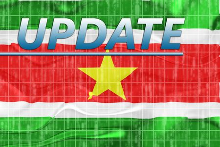 newsflash: News information splash Flag of Suriname, national country symbol illustration wavy Stock Photo