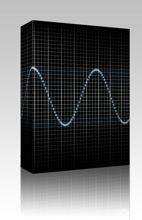 audiowave: Software package box Abstract generic science audio waves measurement display illustration