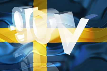 gov: Flag of Sweden, national country symbol illustration wavy gov government website Stock Photo