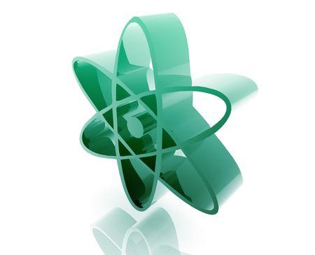 radium: Atomic nuclear symbol illustration glossy metal style isolated Stock Photo