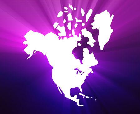 continente americano: Mapa del continente de Am�rica del Norte, Estados Unidos Canad� M�xico