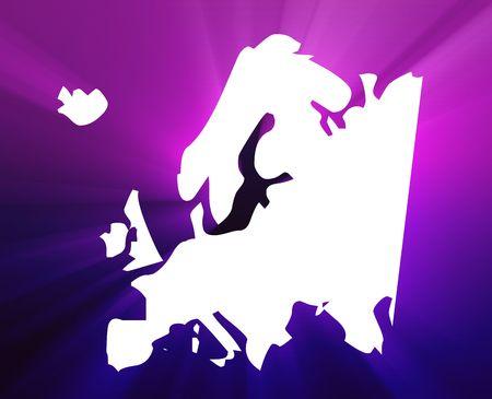 Map of Europe illustration, glowing shining light appearance Stock Illustration - 6705863