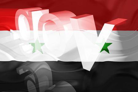 gov: Flag of Syria, national country symbol illustration wavy gov government website Stock Photo