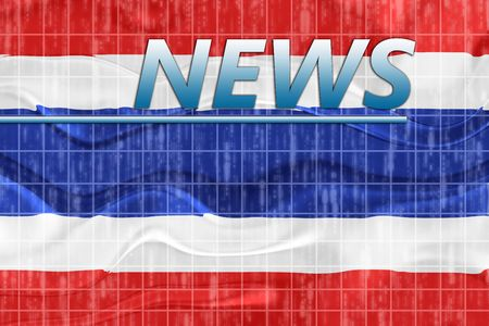 newsflash: News information splash Flag of Thailand, national country symbol illustration wavy Stock Photo