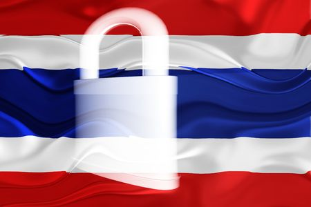 guarded: Flag of Thailand, national country symbol illustration wavy security lock protection