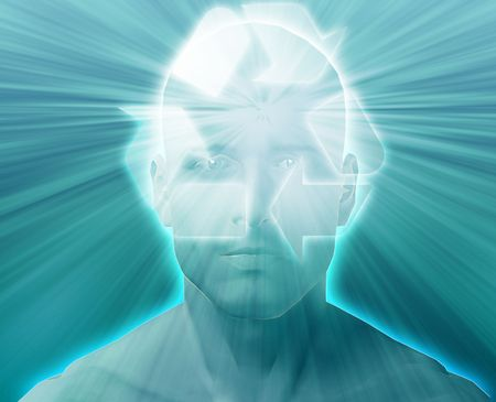 envisioning: Man thinking about recycling environment, floating over head