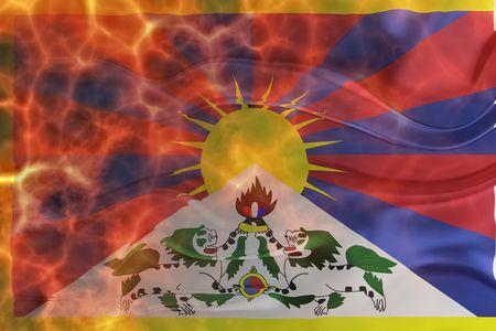 tibet: Flag of Tibet, national symbol illustration clipart wavy burning flames fire