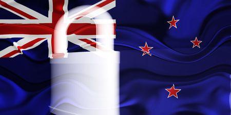 tokelau: Flag of Tokelau, national country symbol illustration wavy security lock protection