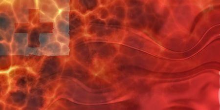 Flag of Tonga, national country symbol illustration wavy burning flames fire illustration