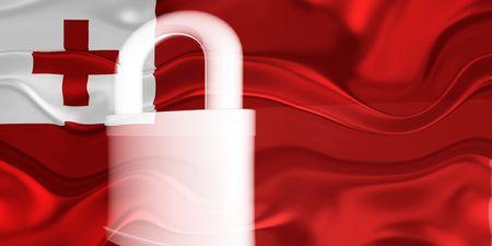 Flag of Tonga, national country symbol illustration wavy security lock protection illustration
